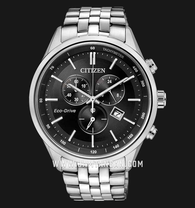 Citizen AT2140-55E Eco-Drive Chronograph Black Dial Stainless Steel Strap Machtwatch