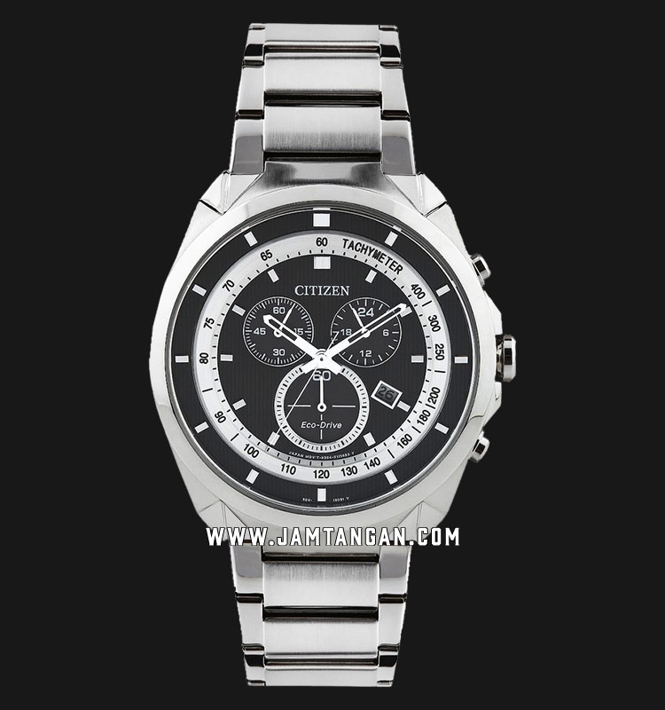 Citizen AT2150-51E Promaster Eco-Drive Chronograph Black Dial Stainless Steel Strap Machtwatch