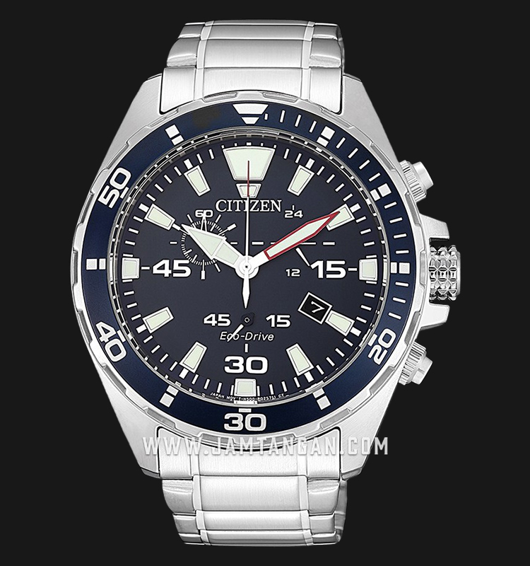 Citizen AT2431-87L Eco-Drive Men Chronograph Blue Dial Stainless Steel Strap Machtwatch