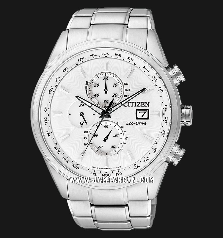 Citizen AT8015-54A Eco-Drive Chronograph White Dial Stainless Steel Strap Machtwatch
