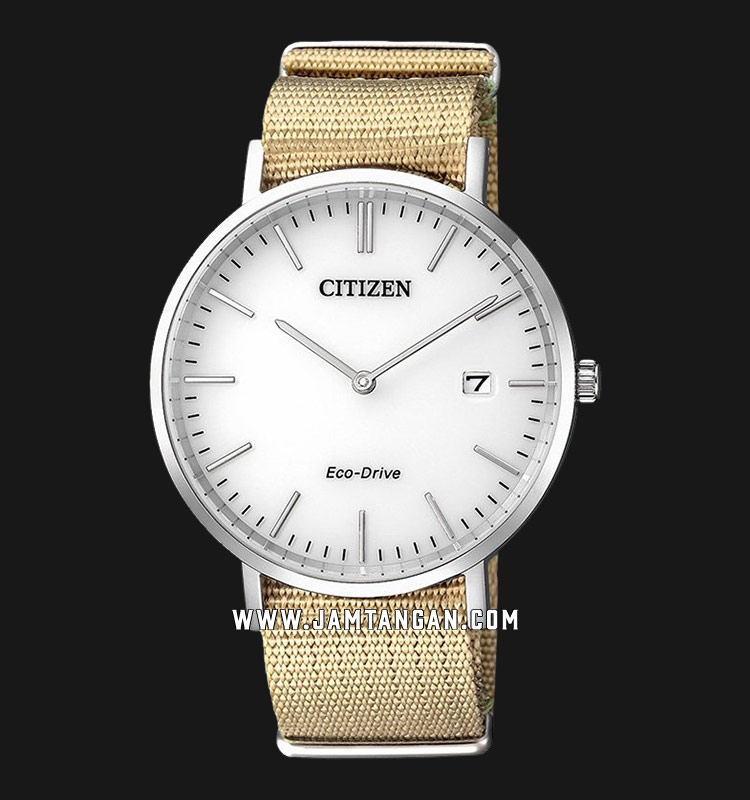 Citizen AU1080-20A Men Eco-Drive White Dial Nylon Strap Machtwatch