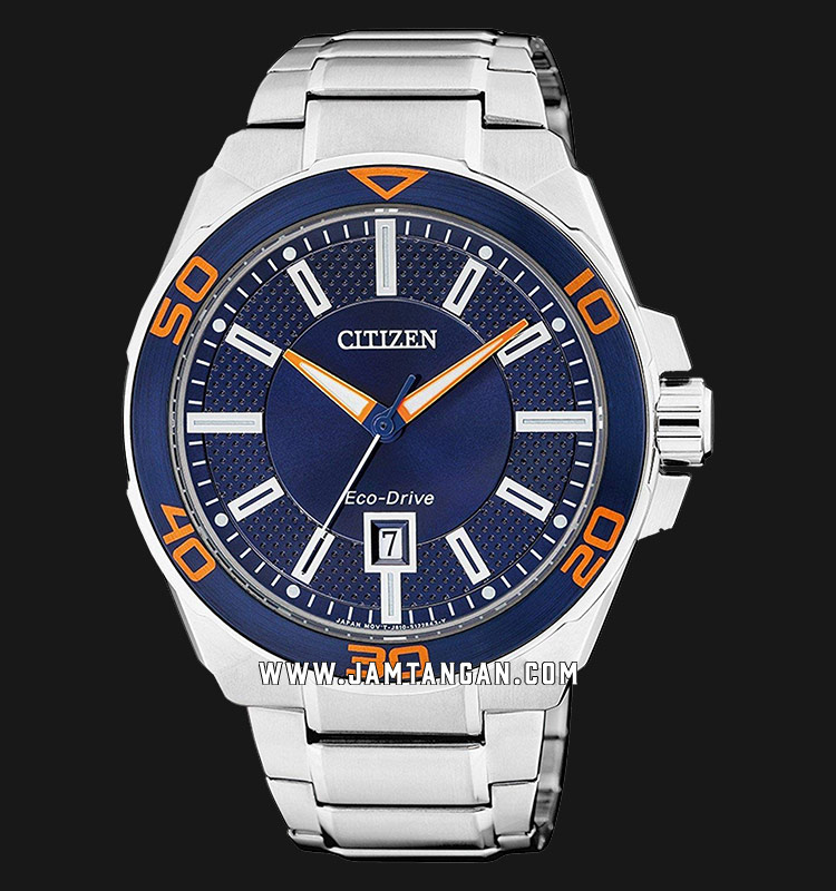 Citizen AW1191-51L Eco-Drive Men Blue Dial Stainless Steel Strap Machtwatch