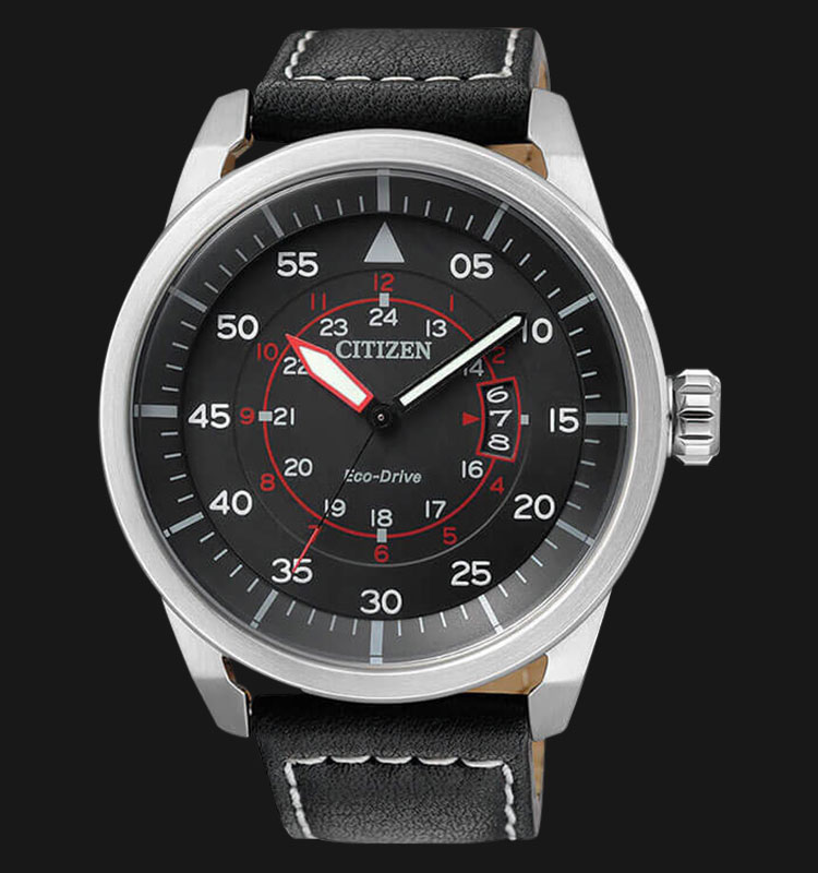 Citizen AW1360-04E Eco Drive Black Dial Black Leather Strap Machtwatch