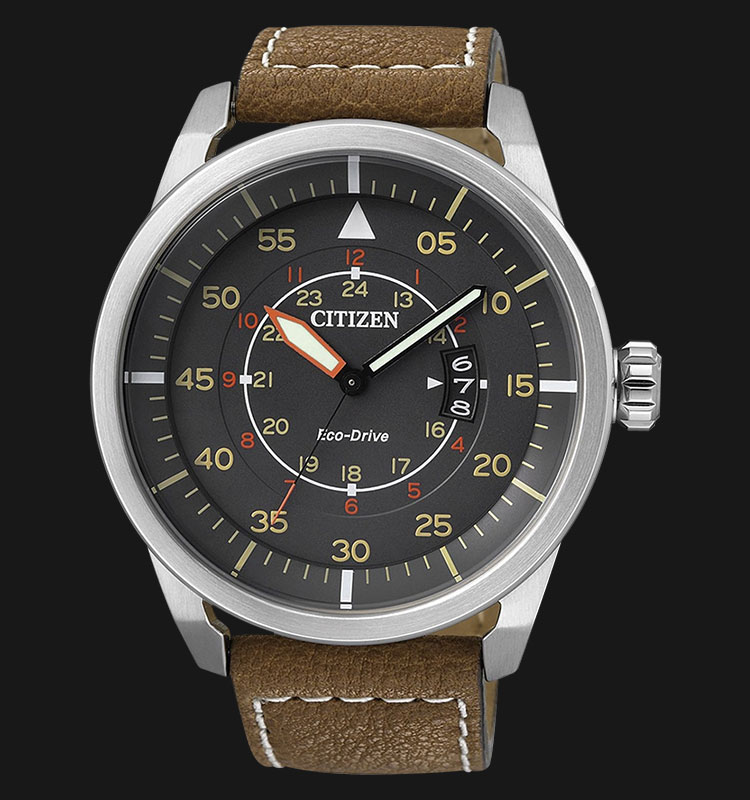 Citizen AW1360-12H Eco Drive Grey Dial Brown Leather Strap Machtwatch