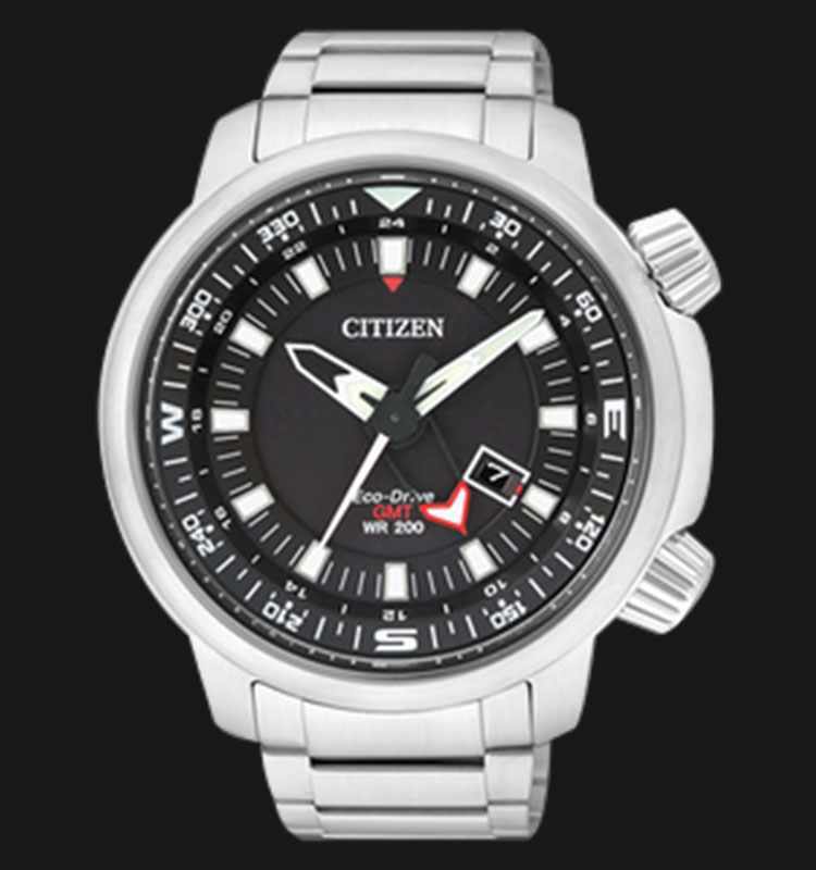 Citizen BJ7081-51E Eco Drive GMT WR 200 Black Dial Stainless Steel Bracelet Machtwatch
