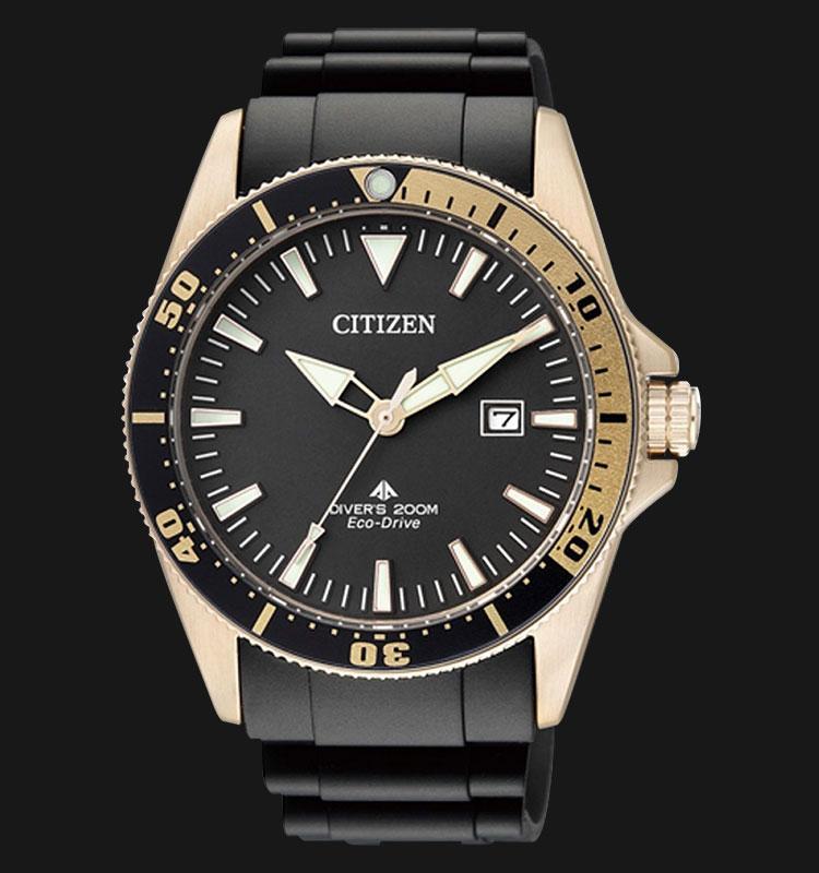 Citizen BN0104-09E Eco Drive Divers 200M Black Dial Black Rubber Strap Machtwatch