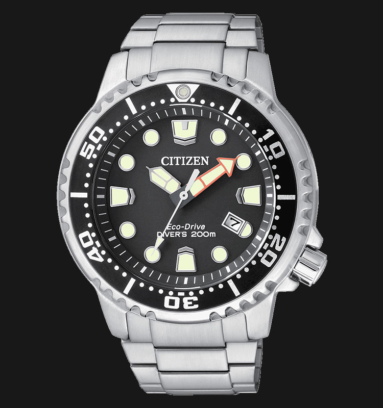 Citizen BN0150-61E Eco Drive Promaster Divers 200M Black Dial Stainless Steel Machtwatch