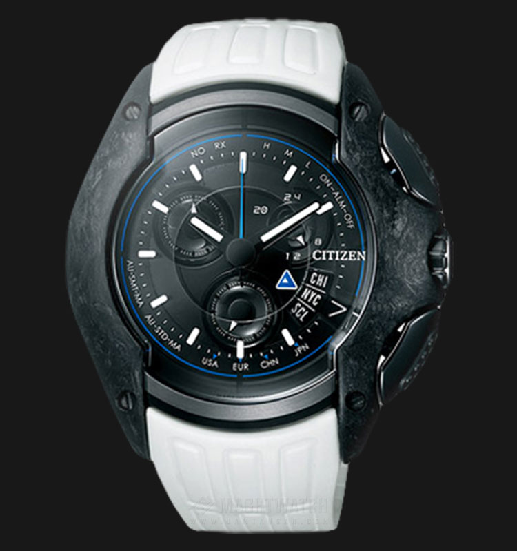 Citizen BY0038-02E Eco Drive Dome Black Multilayer Dial White Rubber Strap Machtwatch