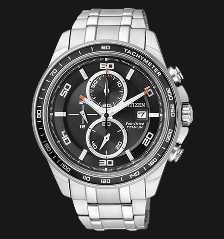 Citizen CA0341-52E Eco Drive Chronograph Black Dial Super Titanium Sapphire Machtwatch