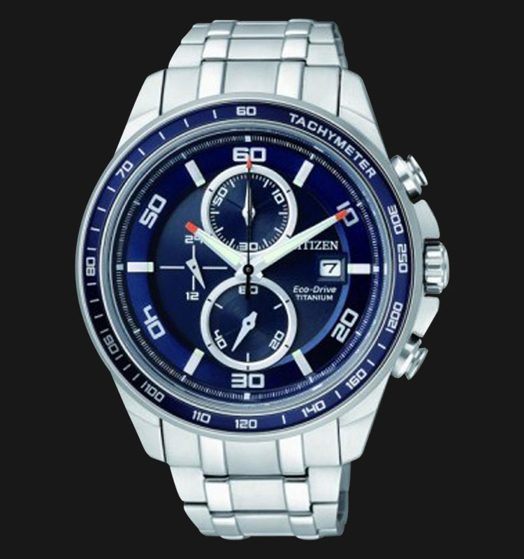 Citizen CA0346-59L Eco Drive Chronograph Blue Dial Super Titanium Sapphire Machtwatch