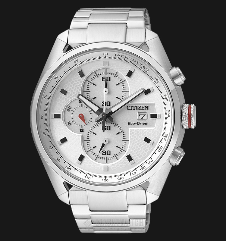 Citizen CA0360-58A Eco Drive Chronograph Stainless Steel Machtwatch