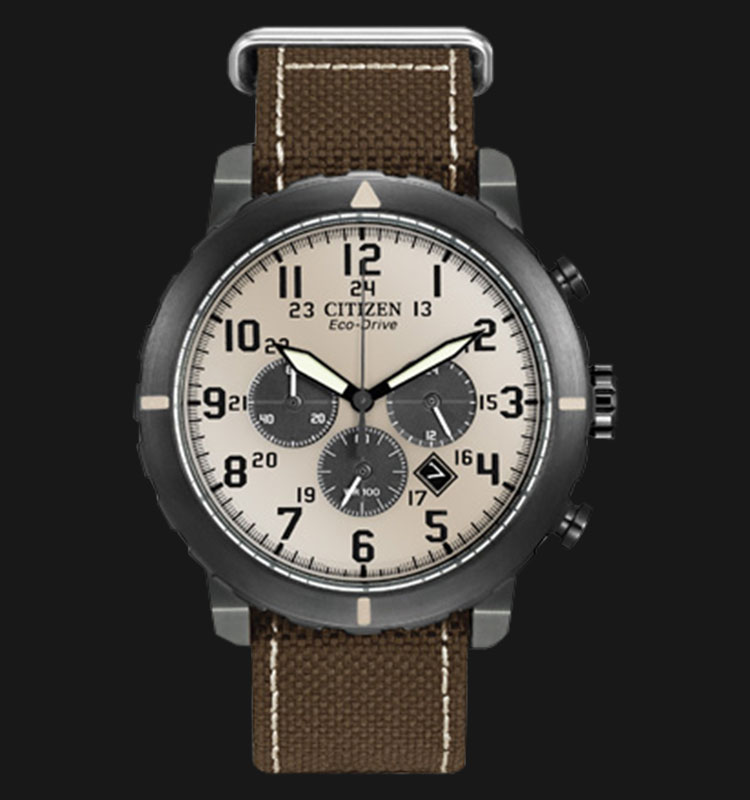 Citizen CA4095-04H Eco Drive Military Chronograph Beige Dial Brown Canvas Strap Machtwatch