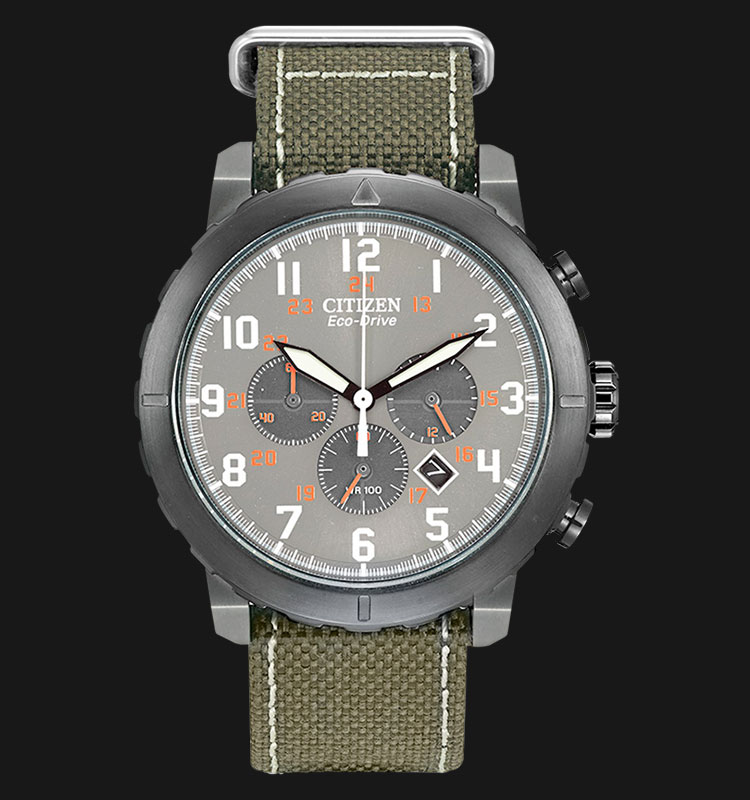 Citizen CA4098-14H Eco Drive Military Chronograph Grey Dial Green Canvas Strap Machtwatch