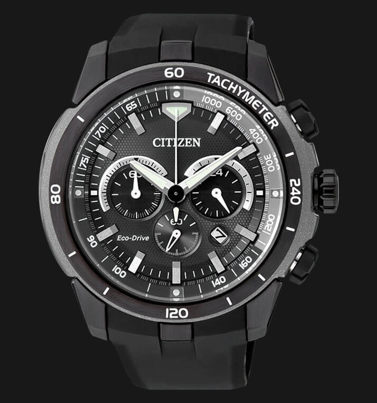 Citizen CA4157-09E Eco Drive Chronograph Black Dial Black Rubber Strap Machtwatch