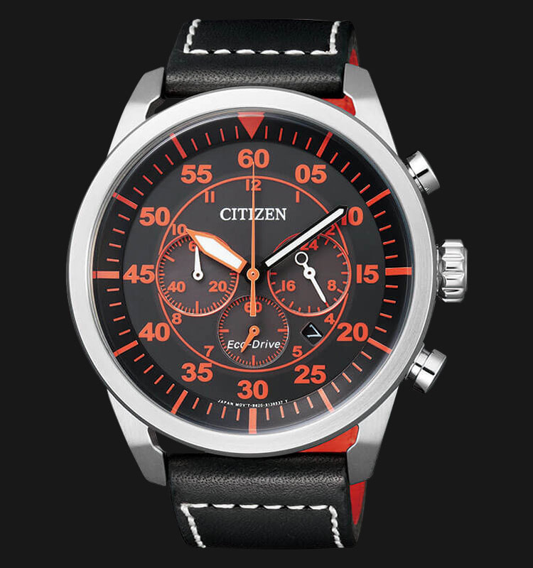 Citizen CA4210-08E Eco Drive Chronograph Black Dial Black Leather Strap Machtwatch