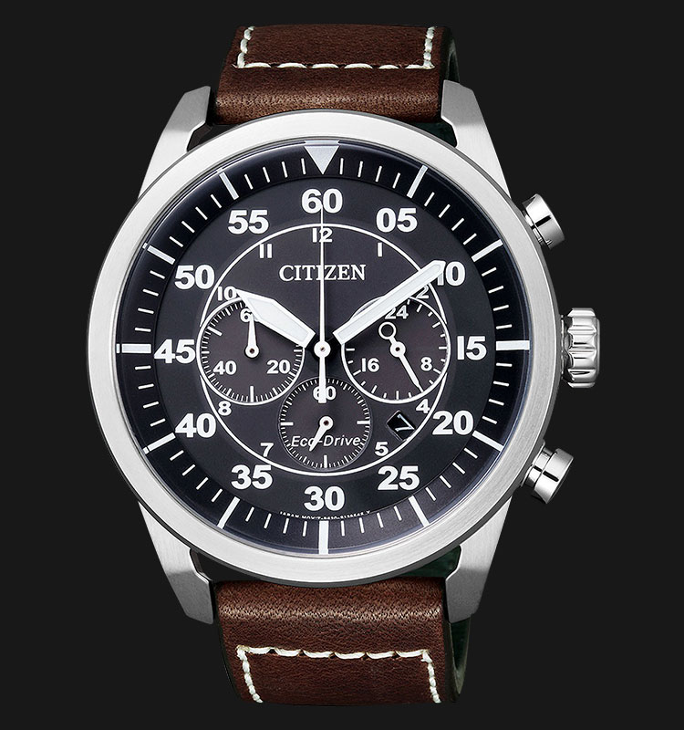 Citizen CA4210-16E Eco Drive Chronograph Black Dial Brown Leather Strap Machtwatch
