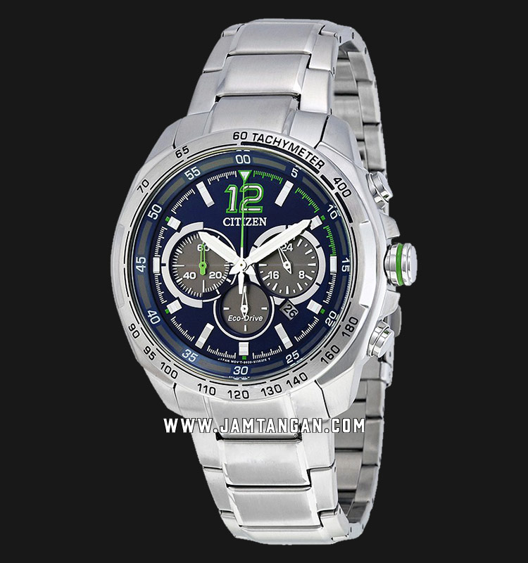 Citizen CA4230-51L Eco-Drive Chronograph Men Blue Dial Stainless Steel Strap Machtwatch