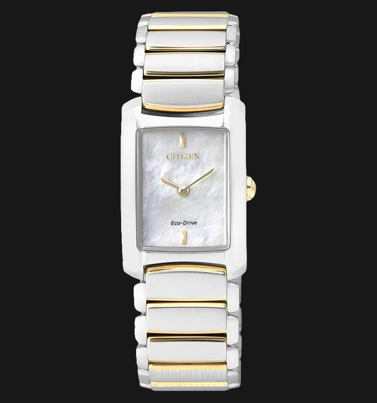 Citizen EG2975-50D Eco-Drive Ladies White Mother of Pearl Dial Dual Tone Stainless Steel Strap Machtwatch