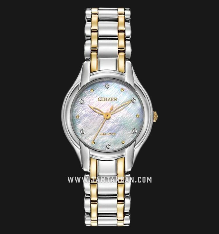 Citizen EM0284-51D Eco-Drive Mother of Pearl Dial Dual Tone Stainless Steel Strap Machtwatch