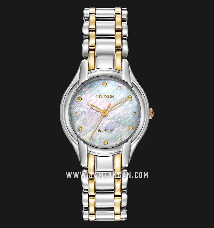 Citizen EM0284-51N Eco-Drive Mother of Pearl Dial Dual Tone Stainless Steel Strap Machtwatch