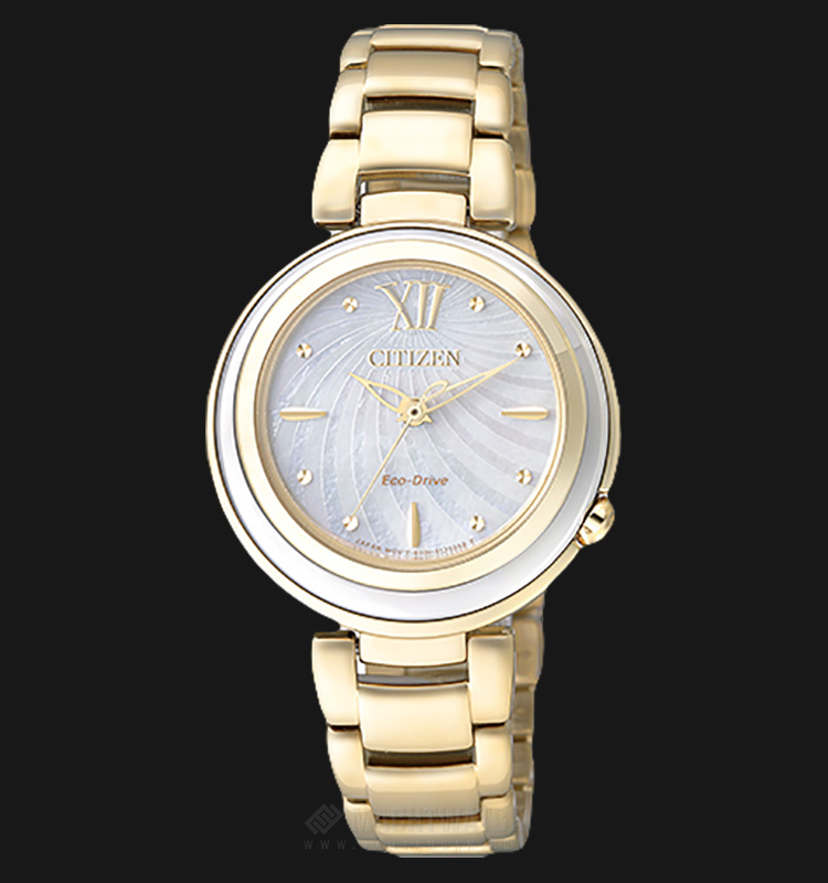 Citizen EM0336-59D Eco-Drive Ladies White Mother of Pearl Dial Gold Stainless Steel Strap Machtwatch
