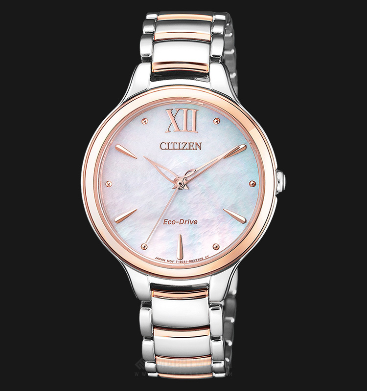 Citizen EM0556-87D Eco-Drive Ladies Pink Mother of Pearl Dial Dual Tone Stainless Steel Strap Machtwatch
