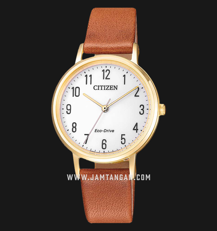 Citizen EM0578-17A Eco-Drive Ladies White Dial Brown Leather Strap Machtwatch