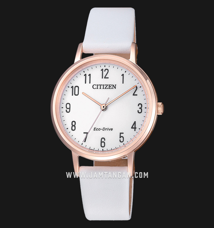 Citizen EM0579-14A Eco-Drive Ladies White Dial White Leather Strap Machtwatch