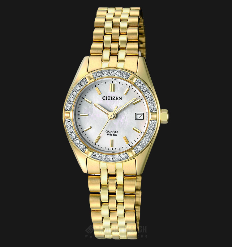 Citizen EU6062-50D Women Elegant Mother Of Pearl Dial Gold-tone Stainless Steel Machtwatch