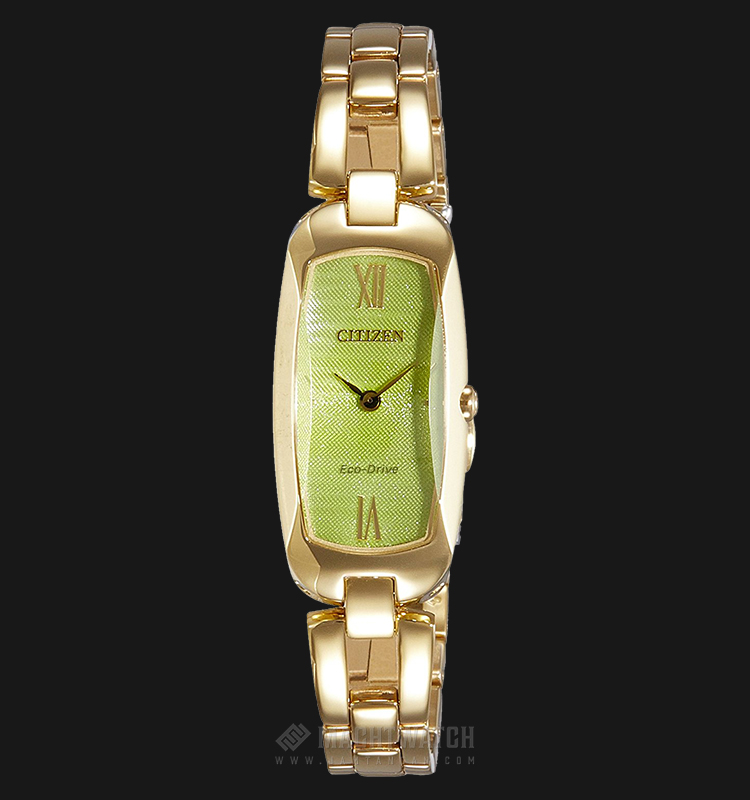 Citizen EX1102-55W Eco-Drive Green Dial Gold-tone Stainless Steel Bracelet Watch Machtwatch