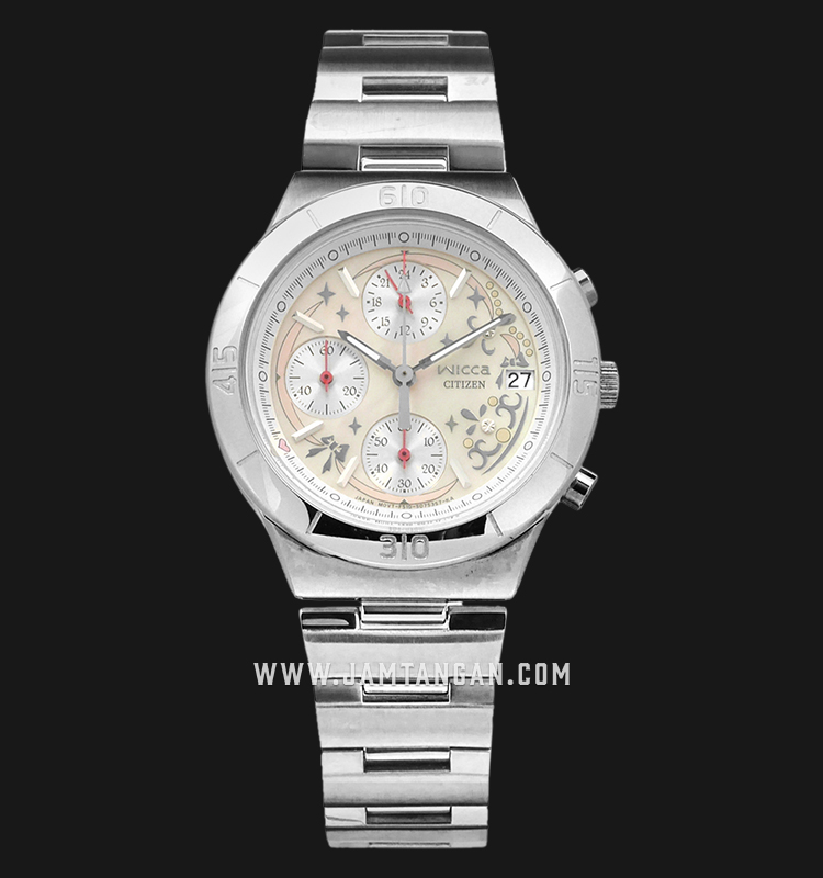 Citizen Wicca FA1006-68D Chronograph Beige Dial Stainless Steel Strap Machtwatch