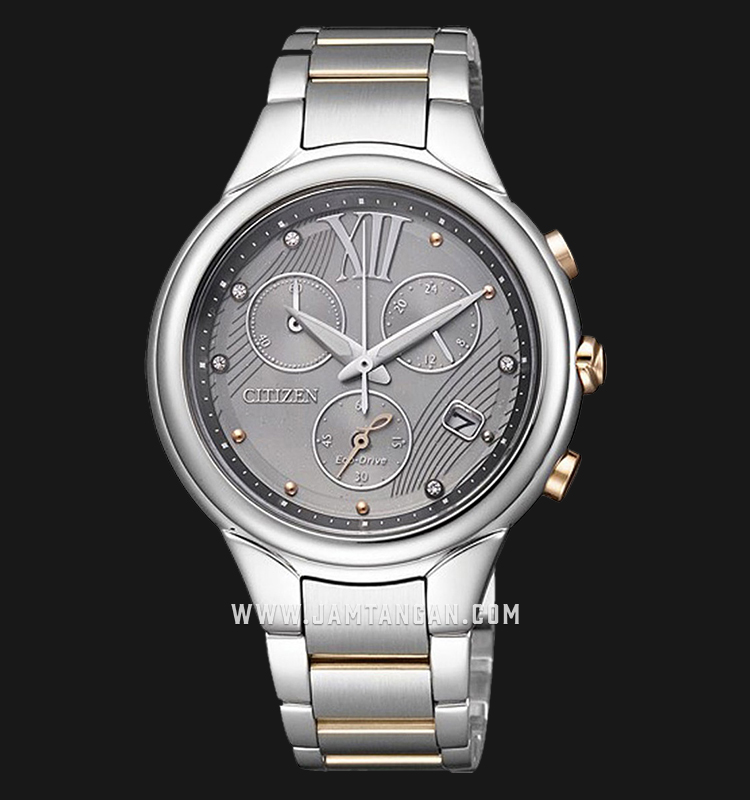 Citizen FB1314-51H Chronograph Eco-Drive Grey Dial Dual Tone Stainless Steel Strap Machtwatch