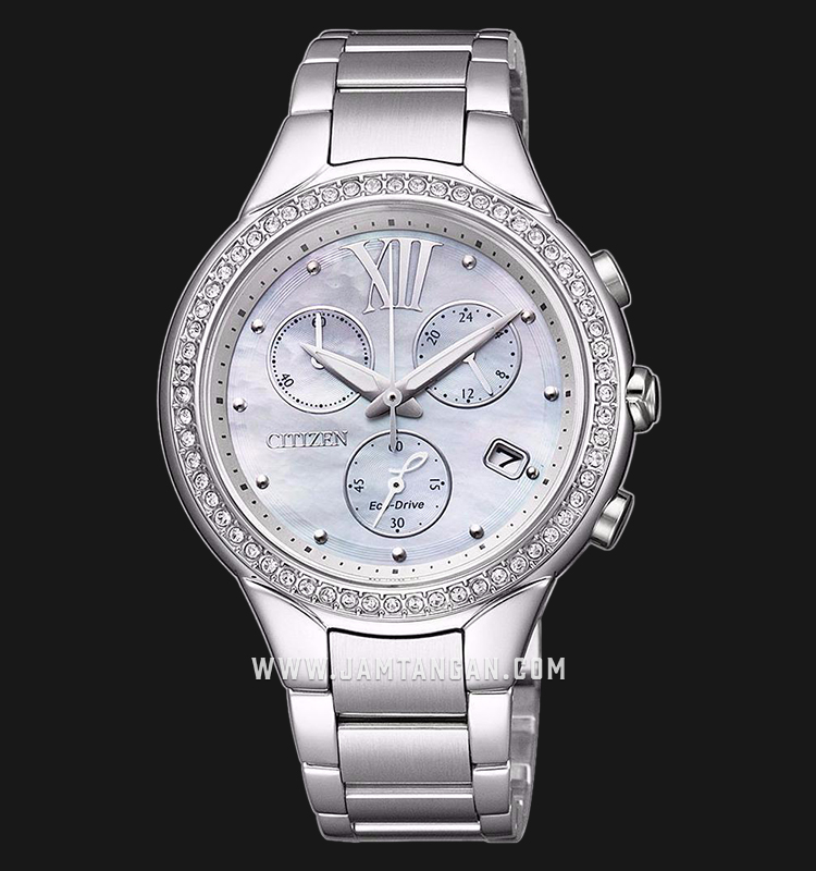 Citizen FB1320-59A Chronograph Eco-Drive Mother of Pearl Dial Stainless Steel Strap Machtwatch