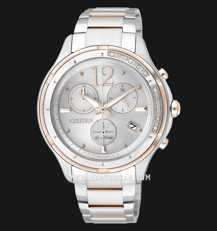 Citizen FB1375-57A Chronograph Eco-Drive Silver Dial Dual Tone Stainless Steel Strap Machtwatch