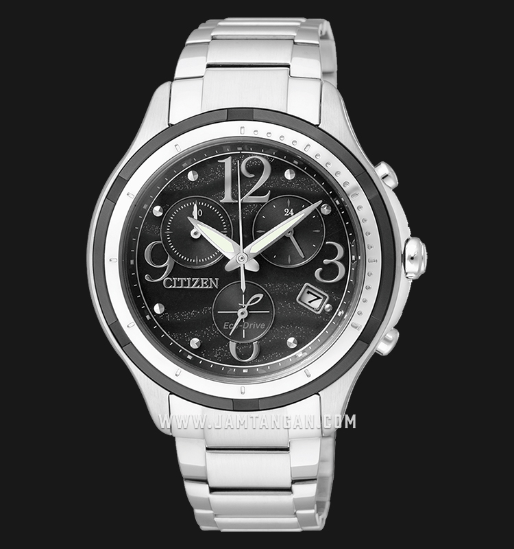 Citizen FB1377-51E Chronograph Eco-Drive Black Dial Stainless Steel Strap Machtwatch