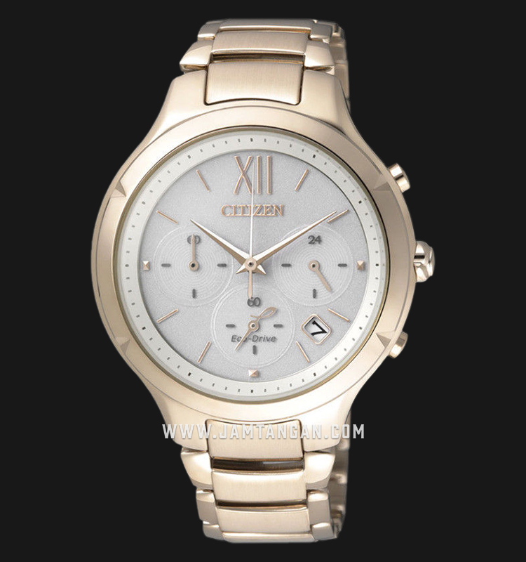 Citizen FB4013-51A Chronograph Eco-Drive White Dial Rose Gold Stainless Steel Strap Machtwatch