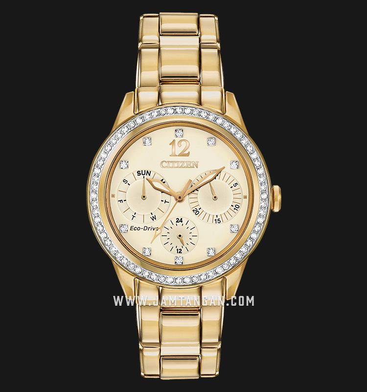 Citizen FD2012-52P Eco-Drive Champagne Dial Gold Stainless Steel Strap Machtwatch