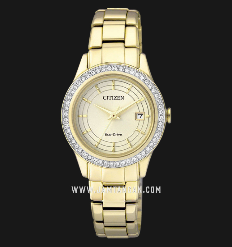 Citizen FE1122-88P Eco-Drive Champagne Dial Gold Stainless Steel Strap Machtwatch
