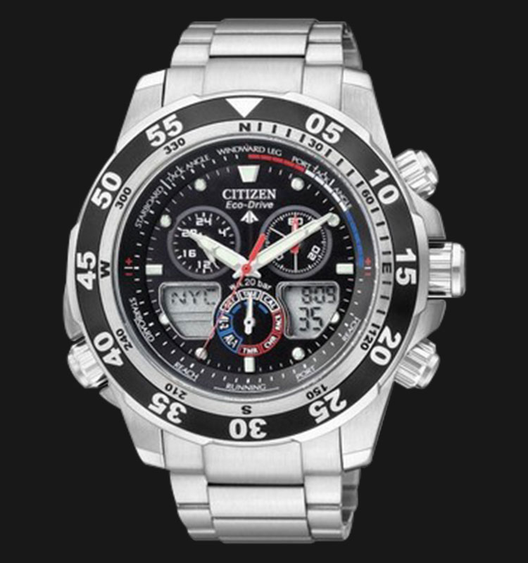 Citizen JR4045-57E Eco Drive Sailhawk Racing Timer Yatching Stainless Steel Machtwatch