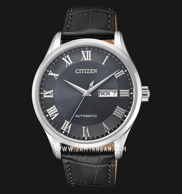 Citizen NH8360-12H Automatic Gray Dial Black Leather Strap Machtwatch