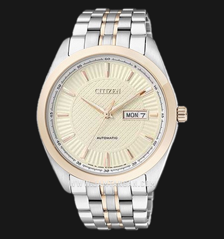 Citizen NP4014-54PB Automatic Biege Dial Dual Tone Stainless Steel Strap Machtwatch