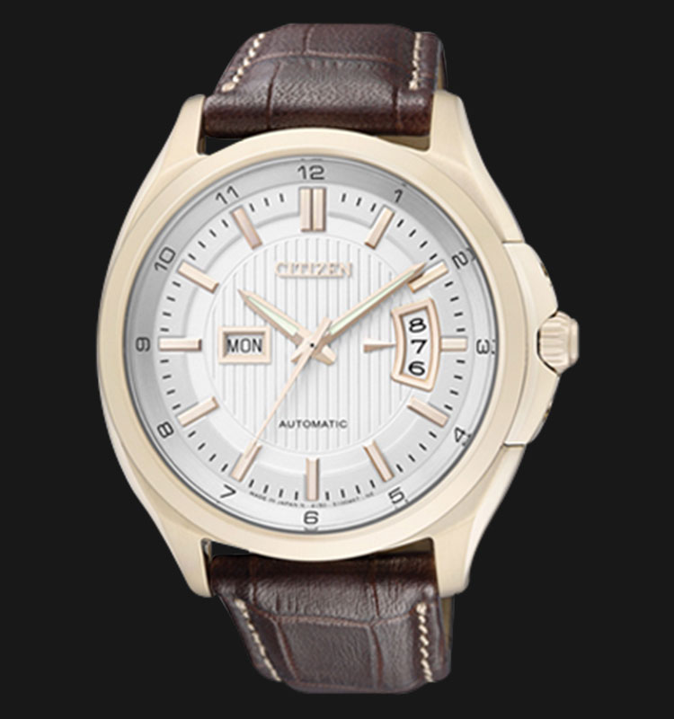 Citizen NP4033-09AB Automatic 21 Jewels White Dial Brown Leather Strap Machtwatch