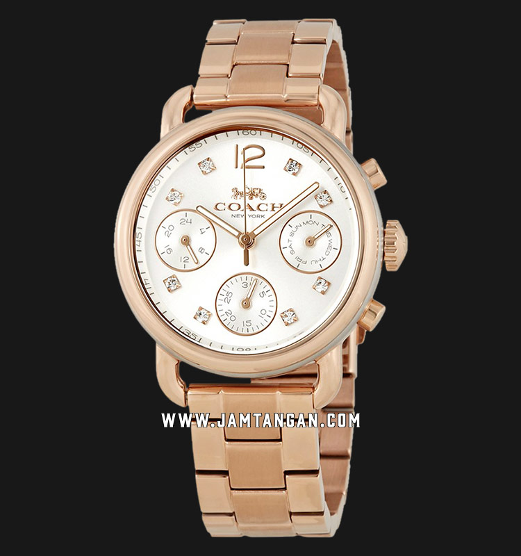 Coach 14502944 Delancey Ladies Silver Dial Rose Gold Stainless Steel Strap Machtwatch