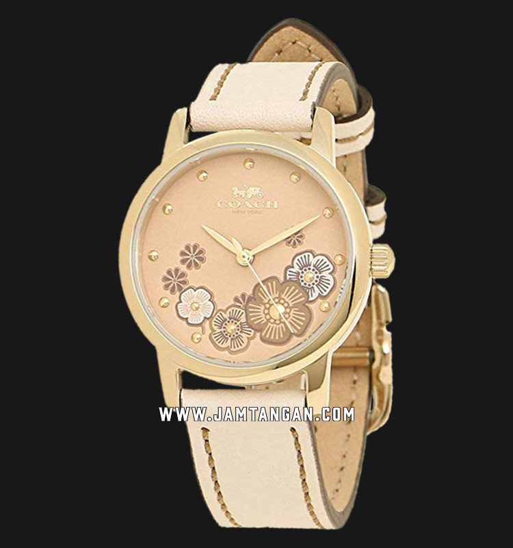 Coach 14503059 Grand Ladies Rose Gold Dial Beige Leather Strap Machtwatch