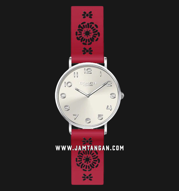 Coach Perry 14503153 Ladies Silver Dial Red Leather Strap Machtwatch