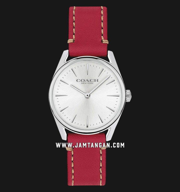 Coach 14503205 Modern Luxury Ladies Silver Dial Red Leather Strap Machtwatch