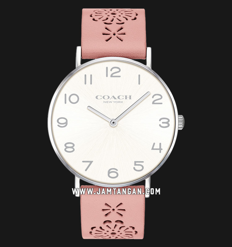 Coach 14503257 Perry Ladies Silver Dial Pink Leather Strap Machtwatch