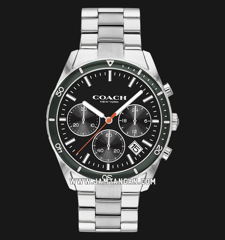 Coach 14602385 Thompson Chronograph Men Black Dial Stainless Steel Strap Machtwatch