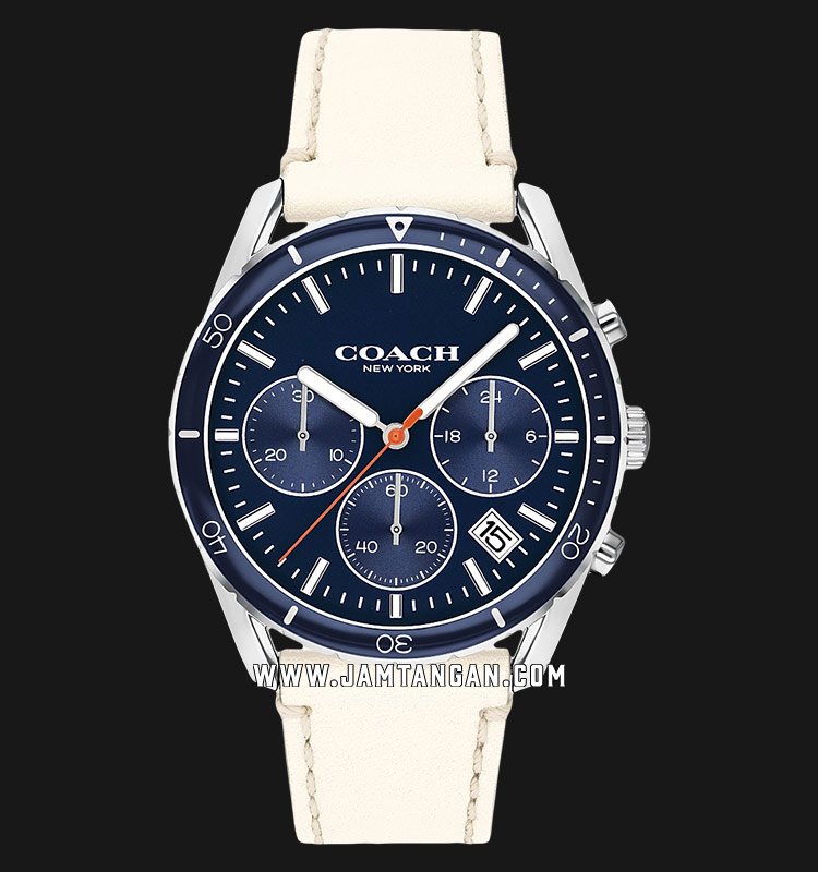 Coach 14602411 Thompson Sport Chronograph Men Blue Dial White Leather Strap Machtwatch