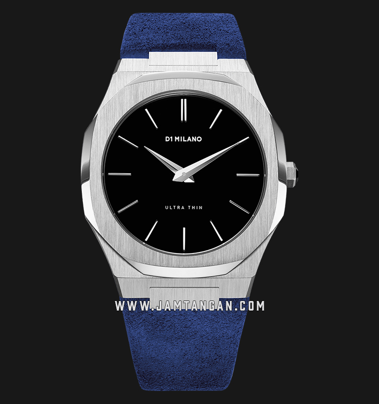 D1 Milano Ultra Thin Classic D1-A-UT03 Black Dial Blue Panarea Suede Leather Strap Machtwatch